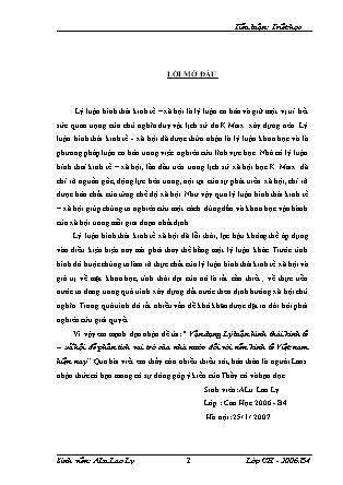 Đề tài Vận dụng Lý luận hình thái kinh tế – xã hội để phân tích vai trò của nhà nước đối với nền kinh tế Việt nam hiện nay - ALu Lao Ly