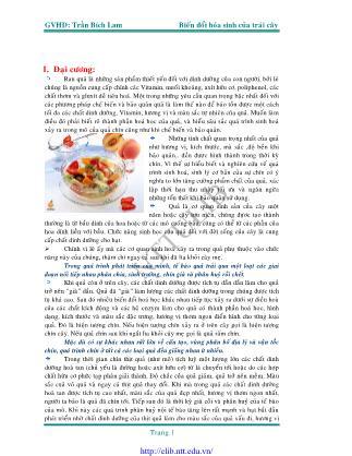 Giáo trình Biến đổi hóa sinh của trái cây - Trần Bích Lam