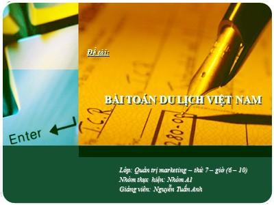 Đề tài Bài toán du lịch Việt Nam
