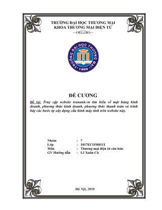 Đề tài Truy cập website trananh.vn tìm hiểu về mặt hàng kinh doanh, phương thức kinh doanh, phương thức thanh toán và trình bày các bước tự xây dựng cấu hình máy tính trên website này