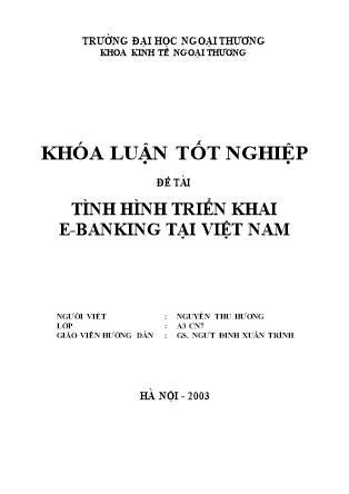 Khóa luận Tình hình triển khai E-Banking tại Việt Nam