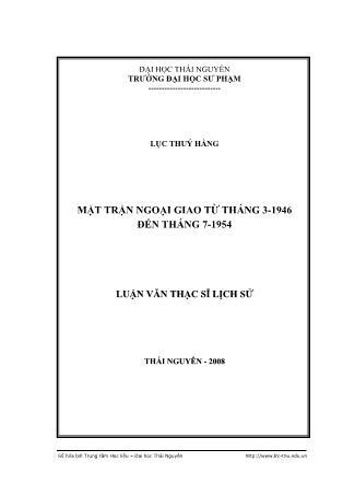 Luận văn Mặt trận ngoại giao từ tháng 3-1946 đến tháng 7-1954