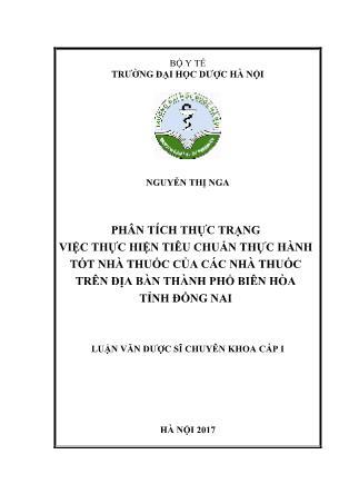 Luận văn Phân tích thực trạng việc thực hiện tiêu chuẩn thực hành tốt nhà thuốc của các nhà thuốc trên địa bàn thành phố Biên Hòa tỉnh Đồng Nai