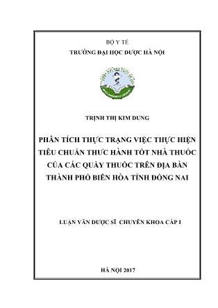 Luận văn Phân tích thực trạng việc thực hiện tiêu chuẩn thực hành tốt nhà thuốc của các quầy thuốc trên địa bàn thành phố Biên Hòa tỉnh Đồng Nai