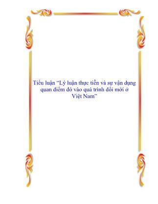 Tiểu luận Lý luận thực tiễn và sự vận dụng quan điểm đó vào quá trình đổi mới ở Việt Nam