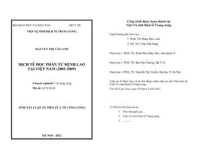 Tóm tắt luận án Dịch tễ học phân tử bệnh lao tại Việt Nam (2003-2009)
