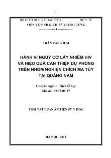 Tóm tắt luận án Hành vi nguy cơ lây nhiễm HIV và hiệu quả can thiệp dự phòng trên nhóm nghiện chích ma túy tại Quảng Nam