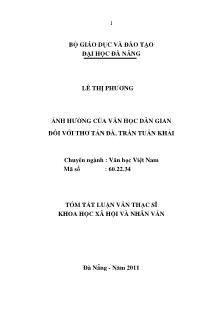 Tóm tắt luận văn Ảnh hưởng của văn học dân gian đối với thơ Tản Đà, Trần Tuấn Khải