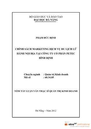 Tóm tắt Luận văn Chính sách marketing dịch vụ du lịch lữ hành nội địa tại Công ty Cổ phần Petec Bình Định