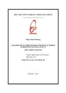 Tóm tắt Luận văn Giải pháp hoàn thiện kinh doanh dịch vụ Mobile marketingtại Tổng công ty Viễn thông Viettel