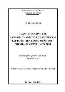 Tóm tắt Luận văn Hoàn thiện công tác đánh giá thành tích nhân viên tại Tập đoàn Viễn thông Quân đội – Chi nhánh Viettel Kon Tum
