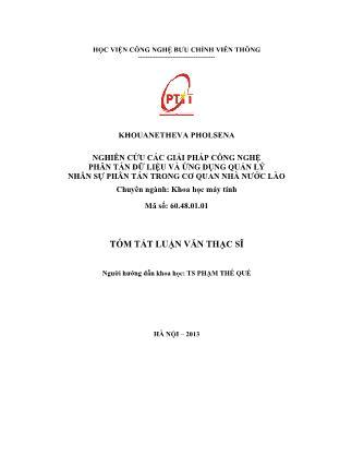 Tóm tắt Luận văn Nghiên cứu các giải pháp công nghệ phân tán dữ liệu và ứng dụng quản lý nhân sự phân tán trong cơ quan nhà nước Lào